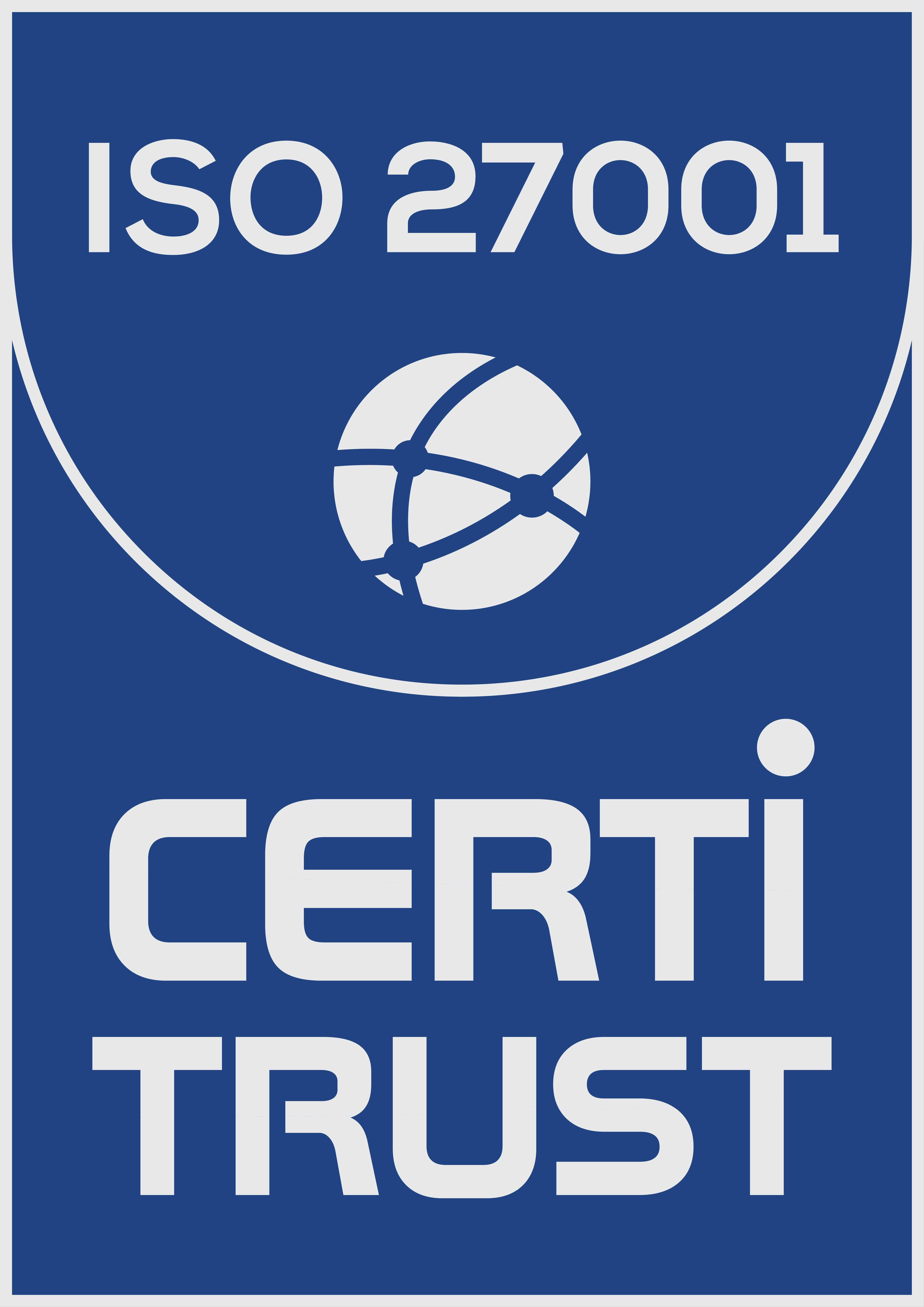Official ISO/IEC 27001 certification received from Certi-Trust